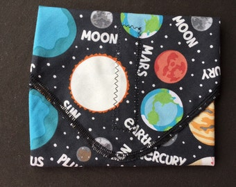 Planet Reusable Sandwich Wrap, Waste Free Lunch, Placemat, Pluto, Planet Lover, Outer Space, Science Teacher Gift, Teacher Gift, NASA