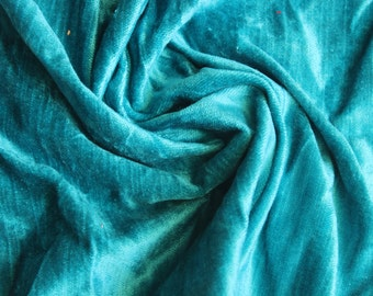 Turquoise Blue Cotton Viscose Velvet Fabric By the Yard Upholstery Weight Fabric Commercial Curtain Fabric Fashion Velvet Window Treatment