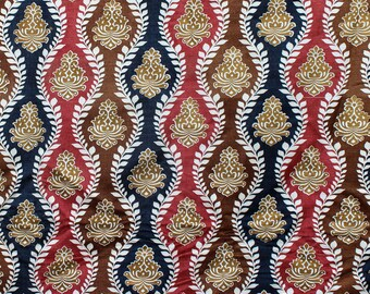Multi Taj Printed Cotton Viscose Velvet Fabric By the Yard Upholstery Fabric Commercial Curtain Fabric Fashion Velvet Window Treatment