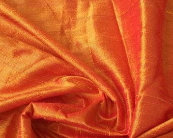 Saffron Orange 100 Percent Pure Silk Dupioni Fabric By The Yard Decorative Silk Fabric Wholesale Silk Fabric Raw Silk Fabric Indian Silk