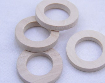 Flat round Rings - 1 1/8 inch Unfinished Wooden Rings - Natural wood ring connectors