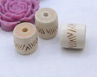 Wood Barrel Natural wood column beads wooden beads carved barrel beads 16x16mm