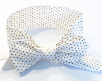 Fabric Bow Headwrap - Gold Metallic Polka Dots- Infant Headband - Fabric Headband - Baby Headband - Toddler Headband Gold Metallic