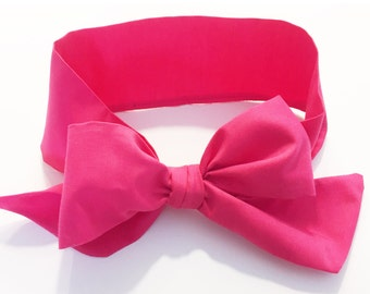 Fabric Bow Headwrap - Hot Pink Solid - Infant Headband - Fabric Headband - Baby Headband - Topknot Headband - Toddler Headband Big Bow