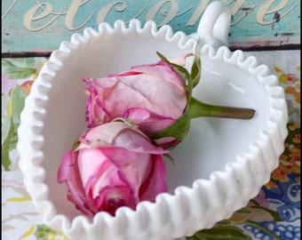 Fenton Milk Glass Hobnail Candy Dish / Valentine's Day Gift / Fenton Heart Candy Dish / My Milk Glass Sweet Heart