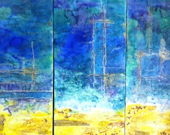 "Large encaustic abstract painting 36""x24"""