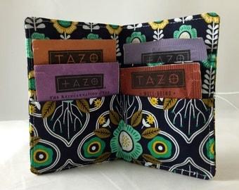 Tea Wallet - Blue Tea Bag Wallet - Tea Bag Case Tea Bag Holder - Tea Holder - Tea Bag Cozy Tea Bag Organizer -  Botanical Damask in Charcoal