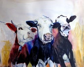 PRINT, giclee print - Ready for Action, Funky Cows  - A4