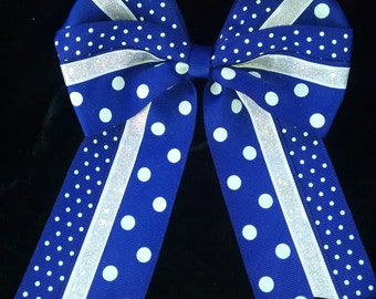 Hair Bow Royal Blue White Silver Polka Dot Dotted Swiss cheer, softball double bow 6 inches