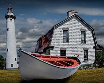 New Presque Isle Light Station with White Boat in Northern Michigan near Grand Lake on Lake Huron No.0389 Lighthouse Seascape Photography