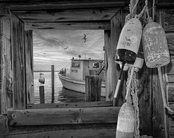Window view of Fishing Boat and Gulls in the Harbor with Fishing Buoys No.BW0332 A Black and White Seascape Nautical Still Life Photograph
