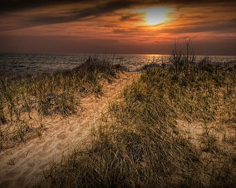 Beach Dune Path at Sunset with Dune Grass in Summer on the Lake Michigan Shoreline by Muskegon Michigan No.29442 Nature Seascape Photography