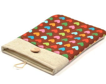 50% OFF SALE iPad Mini Case with Hearts Pattern Pocket and button closure. Padded Cover for iPad Mini 1 2 3 4. iPad Mini Sleeve.