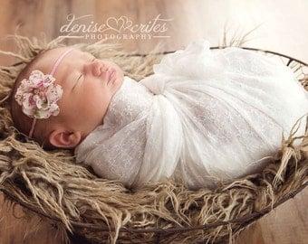 Pink Baby Headband, Newborn Headband, Floral Headband, Baby Headbands, Newborn Baby Girl Headband
