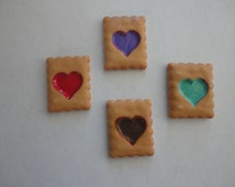 Kawaii shortbread cookie with heart decoden deco diy charm cabochons  4 pcs--USA seller