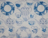 Charming Tea Party China Print Pure Cotton Fabric in Blue and White--One Yard