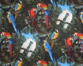 Pairs of MaCaws and Cockatoos in Jungle Print Pure Cotton Fabric--One Yard