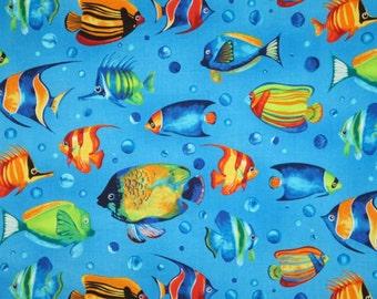 Colorful Reef Fish Print Pure Cotton Fabrics--One Yard