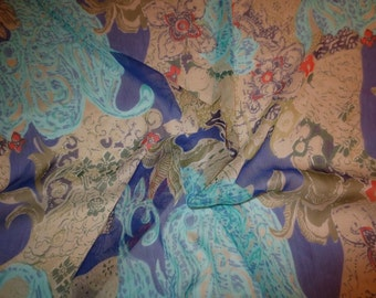 SPECIAL--Turquoise Royal and Sage Green Exotic Paisley Print Polyester Chiffon Fabric--One Yard