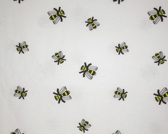 Fresh Yellow Bee Print on White Pure Cotton Oxford Cloth Shirting Fabric--One Yard
