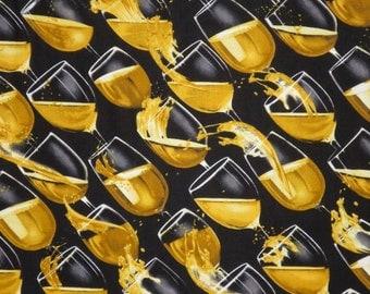 Cheers Splash of Wine Print Pure Cotton Fabric--One Yard