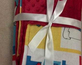 "Dr. Seuss Cat in the Hat panel minky fleece blanket 22""x42"""