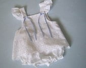 Sweet Eyelet Sunsuit size 6 to 12 mo., White Eyelet Embroidery Lace Top and Bloomers for Baby Girl, Reclaimed Textiles