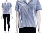 Vintage 80s CHAMBRAY Short Sleeve Blouse Light Wash Denim Top Acid Wash Jean Top Small Medium