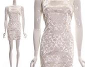 Hold for Gitte Vintage 90s Clueless Cher Dress White Brocade Satin Baroque Floral Mini Dress Sleeveless Versace Style small med