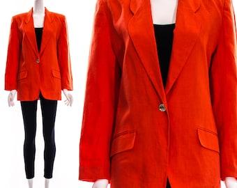 Vtg 80s Coral Linen Boyfriend Blazer Oversized Tuxedo Blazer Long Lapels Slouchy Structured Tailored Medium Large