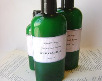 Bergamot Private Stock Lotion, 4 or 8 oz. Bottle for Dry Skin, Feet, Elbows, Winter Skin