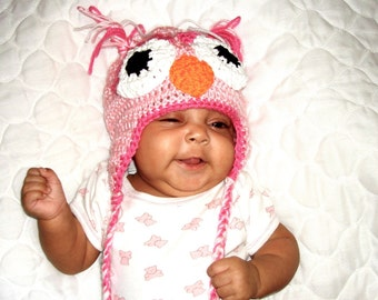 Baby Owl Hat, Crochet, Ear Flap, Pink, Newborn, Girl, Children,