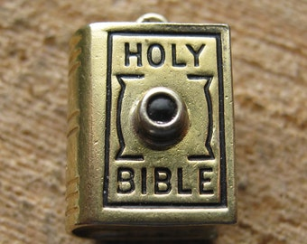 3D Vintage Sterling Silver Holy Bible Charm or Pendant Childrens Womens