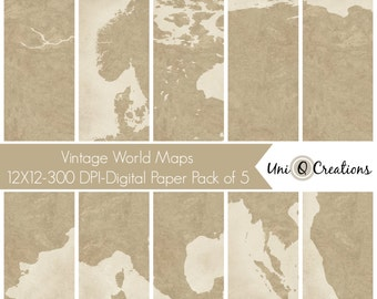 Printable Scrapbook Paper, Rustic World Maps, Vintage World Maps, Instant Download, Digital Paper Set of 5