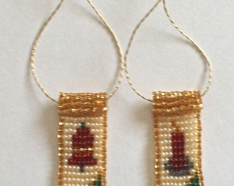 Set of 2 Hand Beaded Mini Stocking Ornaments - Bell and Candle - FREE SHIPPING