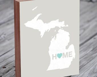Michigan State - Michigan Art - Michigan Map - Home Sign - Wood Block Art Print