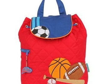 SHIPS NEXT DAY--Personalized Monogrammed -- Stephen Joseph Kid Quilted Red Sports Backpack--Free Monogramming--