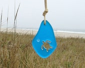 Carved Honu Turtle Sea Glass Necklace Pacific Blue by Wave of Life™