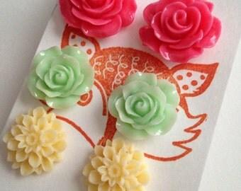 Flower Post Earring Set, three pair set of flower studs - rose and mum. Pink, cream, green.