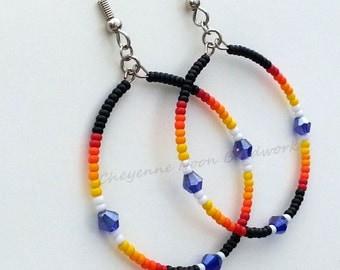 Native American Beaded Earrings - Hoop Earrings - Rainbow Cobalt Blue