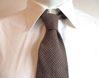Vintage 1980s Necktie Polo Ralph LAUREN  Brown Plaid Cotton Mens Necktie Cravatte De Coton