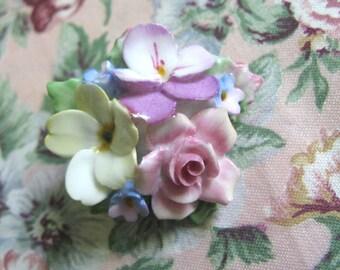 Vintage 1960s Floral Brooch Yellow Pink Bone China Ceramic Flower Coalbrook Pin