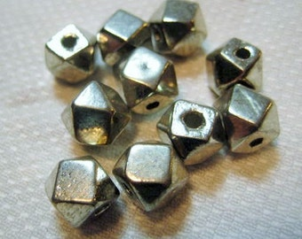 Solid White Brass Beads: Faceted Large Hole Polygon Spacers, 9x9mm, 42 grams, 10 pieces