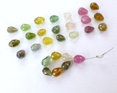 TOURMALINE BeAds. Natural. Mixed Colors. Briolette Beads. 7 pc. 4.50 cts. 4x6 mm (TM2200)