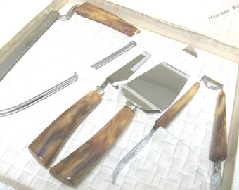 4 Bakelite & Silver Kitchen Set in Original Box //