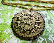 Huge Bronze Unique Medallion, Knight on Horse and Shield, Circular English Pendant on Twisted Gold Tone Chain