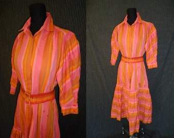 Candy Striped Puffsleeved Vintage 1950's Designer Dropwaist Dress