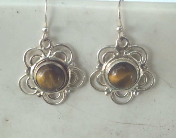 Brown Tiger Eye and Sterling Silver Flower Drop and Dangle Earrings