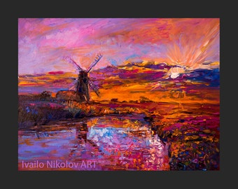 Sunset Over the Lake-Original Oil Painting on Canvas 26 x 20 Landscape Painting Original Art Impressionistic Oil by Ivailo Nikolov