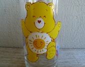 "Care Bear ""Funshine Bear "" Glass Pizza Hut American Greetings 1983"